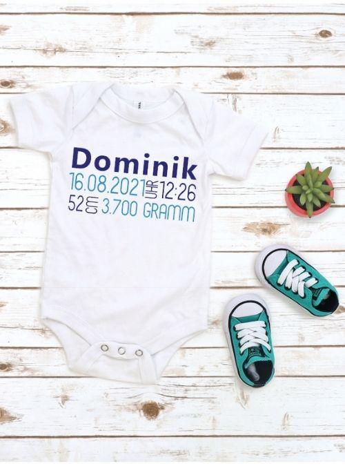 Babybody mit Geburtsdatum